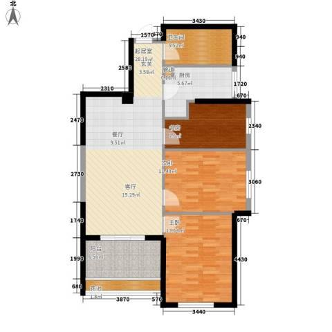 阳光城领海3室0厅1卫1厨91.00㎡户型图