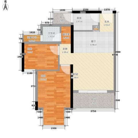 凯旋国际2室0厅1卫1厨77.00㎡户型图
