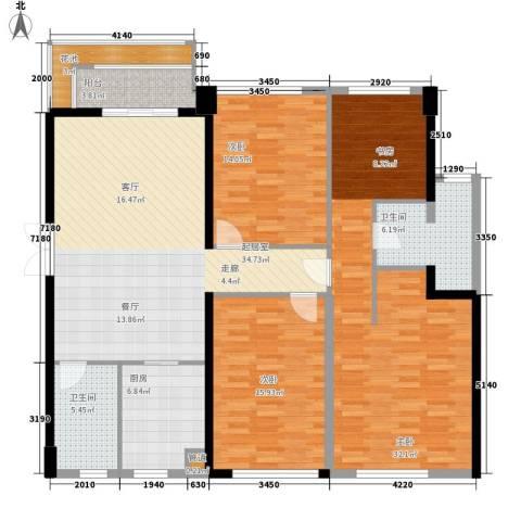 阳光城领海3室0厅2卫1厨137.00㎡户型图