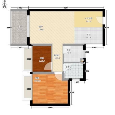 箐英时代2室1厅1卫1厨65.00㎡户型图