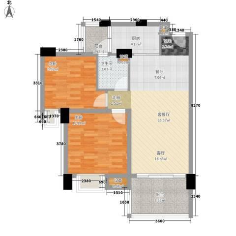 怡丰翠云轩2室1厅1卫1厨95.00㎡户型图