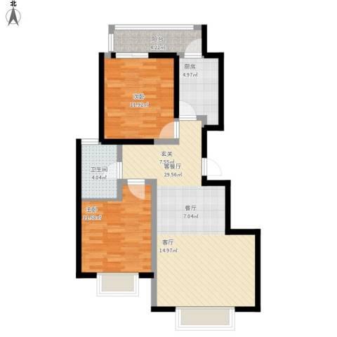 阳光・清城2室1厅1卫1厨96.00㎡户型图