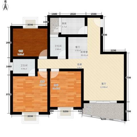 天工琴露园3室0厅2卫1厨114.00㎡户型图