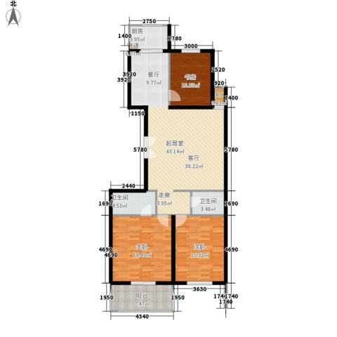 金圣甲第3室0厅2卫1厨151.00㎡户型图