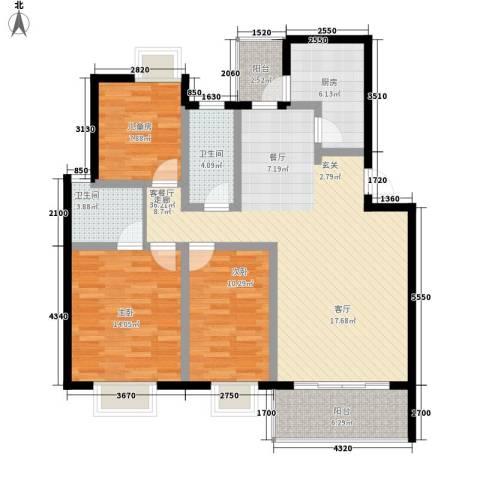 蓝天花园3室1厅2卫1厨104.00㎡户型图