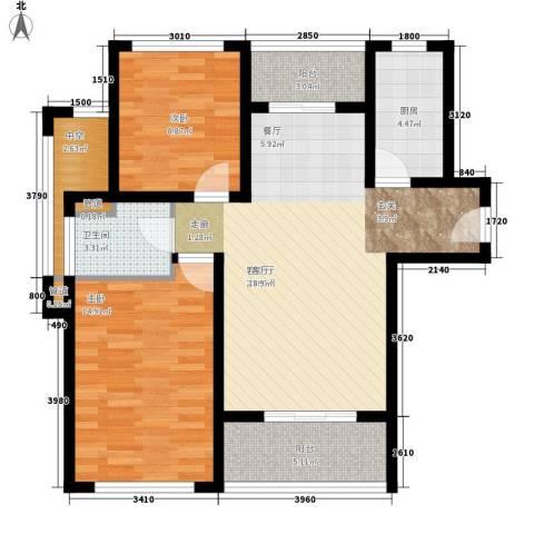 凯瑞米兰公馆2室1厅1卫1厨89.00㎡户型图