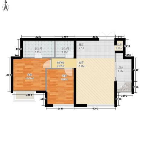 渝南佳苑2室0厅2卫1厨67.41㎡户型图