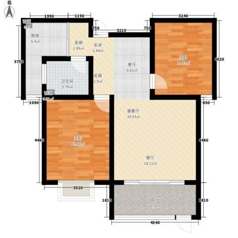 翡翠明珠2室1厅1卫1厨83.00㎡户型图