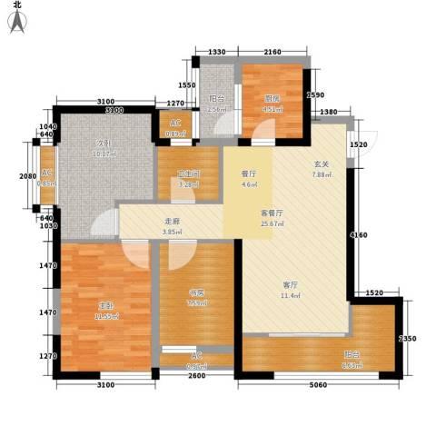 华城万象3室1厅1卫1厨94.00㎡户型图