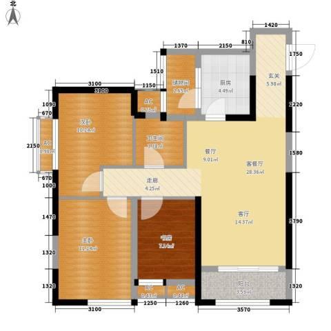 华城万象3室1厅1卫1厨93.00㎡户型图