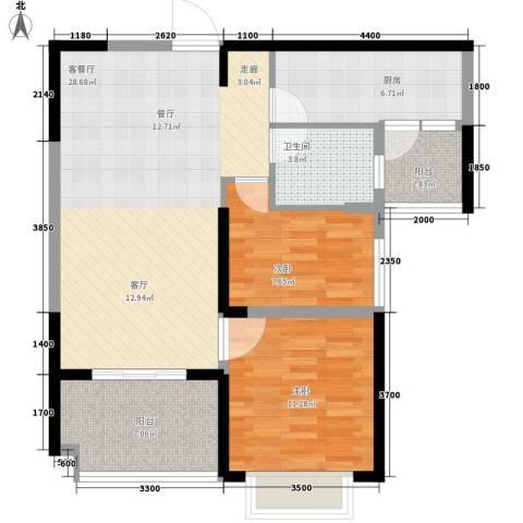 沧州恒大城2室1厅1卫1厨99.00㎡户型图