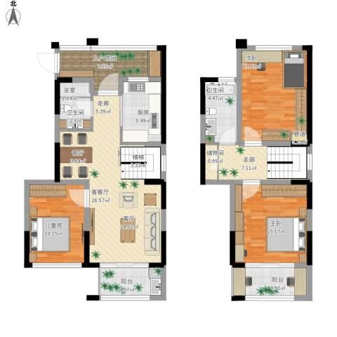 华润城立方3室1厅2卫1厨148.00㎡户型图