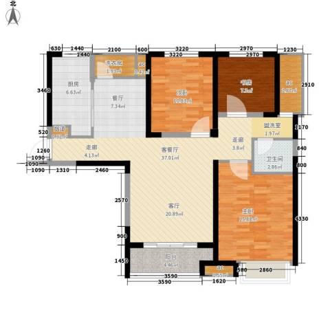 融科城3室1厅1卫1厨105.00㎡户型图