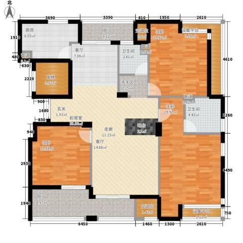香水湾3室0厅2卫1厨142.00㎡户型图