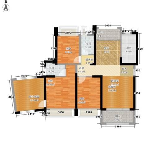 美林假日3室0厅2卫1厨118.00㎡户型图