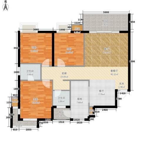 浏阳河畔3室1厅2卫1厨126.00㎡户型图