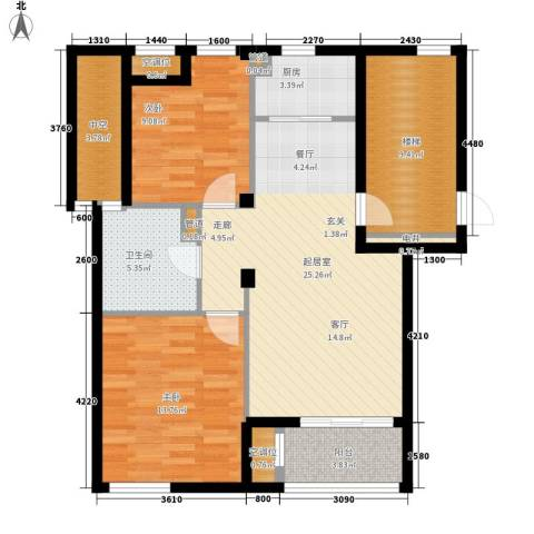 香水湾2室0厅1卫1厨88.00㎡户型图