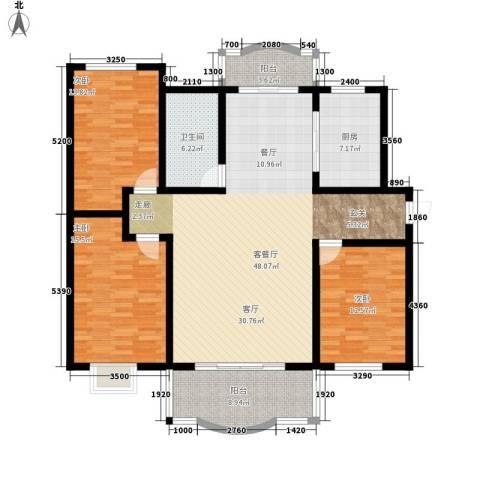 万科水晶城皓石园3室1厅1卫1厨165.00㎡户型图