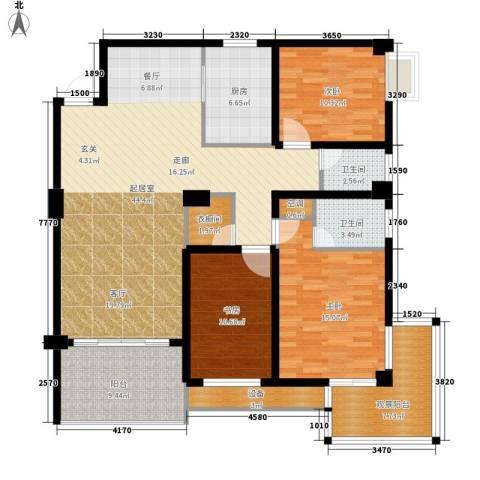 浏阳河畔3室0厅2卫1厨138.00㎡户型图