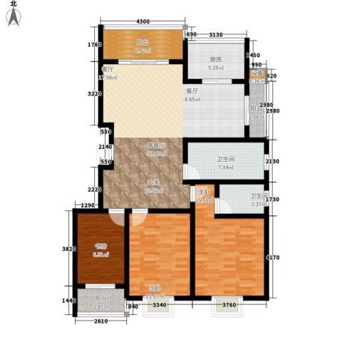 天泽水岸3室1厅2卫1厨130.00㎡户型图