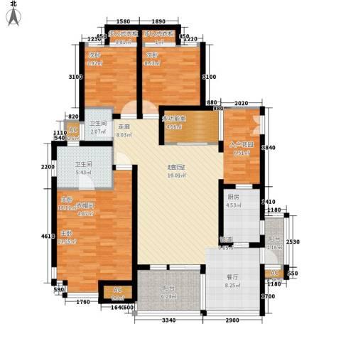 同天依云郡3室0厅2卫1厨122.00㎡户型图