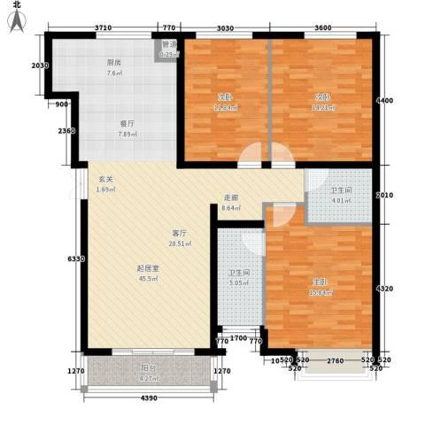 西美70后院3室0厅2卫0厨127.00㎡户型图