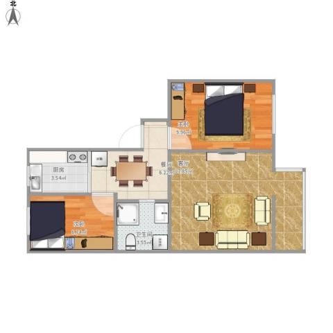 老山西里2室2厅1卫1厨65.00㎡户型图