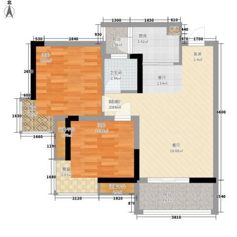 荣升部落格2室1厅1卫1厨59.00㎡户型图