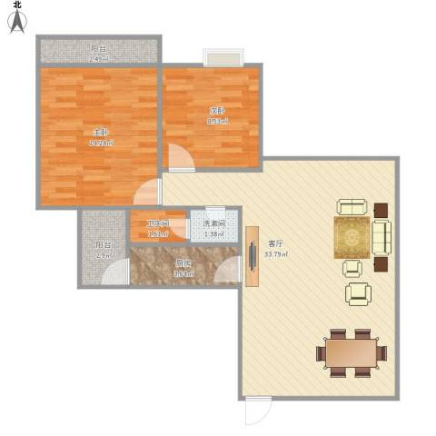 人才楼2室1厅1卫1厨93.00㎡户型图