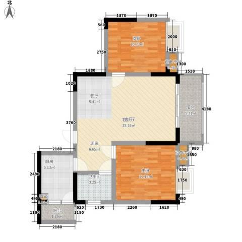 黄龙花园2室1厅1卫1厨97.00㎡户型图