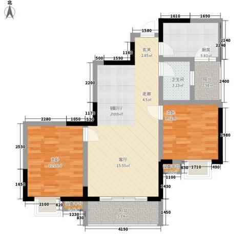 黄龙花园2室1厅1卫1厨99.00㎡户型图
