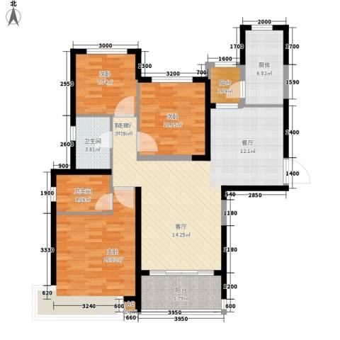沧州恒大城3室1厅2卫1厨130.00㎡户型图