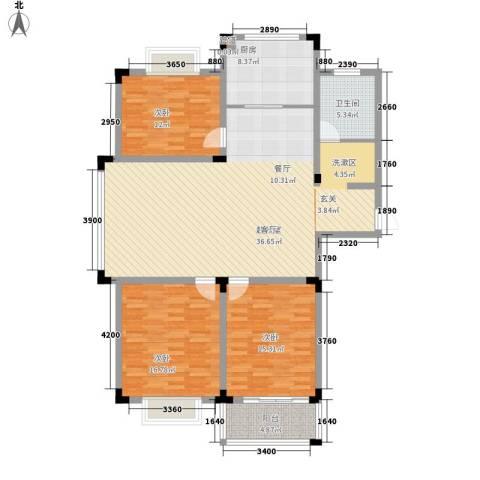 丽景苑3室0厅1卫1厨129.00㎡户型图