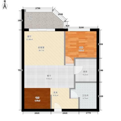 国际海景城1室0厅1卫1厨90.00㎡户型图