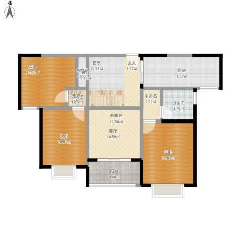 合景叠翠峰3室1厅1卫1厨110.00㎡户型图