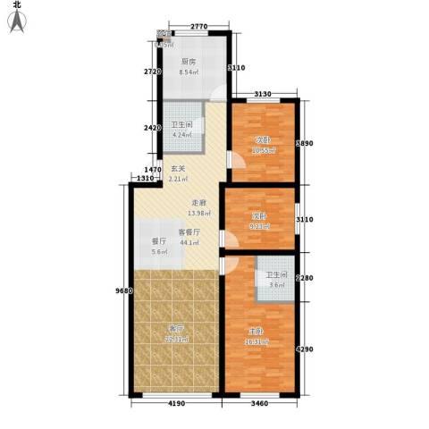 千禧名仕3室1厅2卫1厨124.00㎡户型图