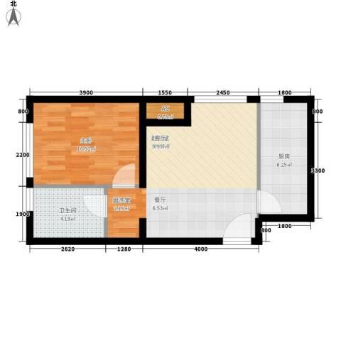 住总众邦·长安生活港1室0厅1卫1厨60.00㎡户型图
