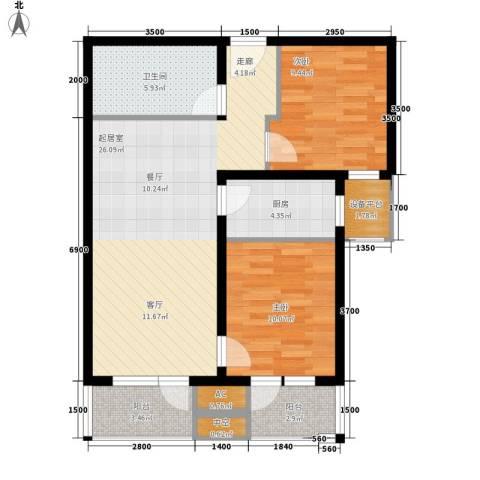 住总众邦·长安生活港2室0厅1卫1厨89.00㎡户型图