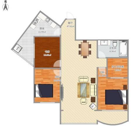 小平岛海悦山3室1厅1卫1厨141.00㎡户型图
