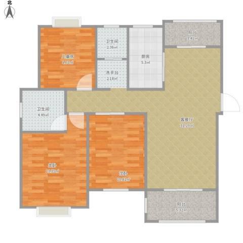 天业盛世豪庭3室1厅2卫1厨115.00㎡户型图