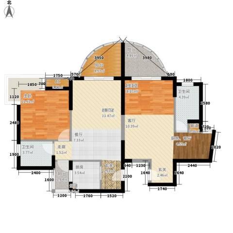 荔建花园1室0厅2卫1厨110.00㎡户型图