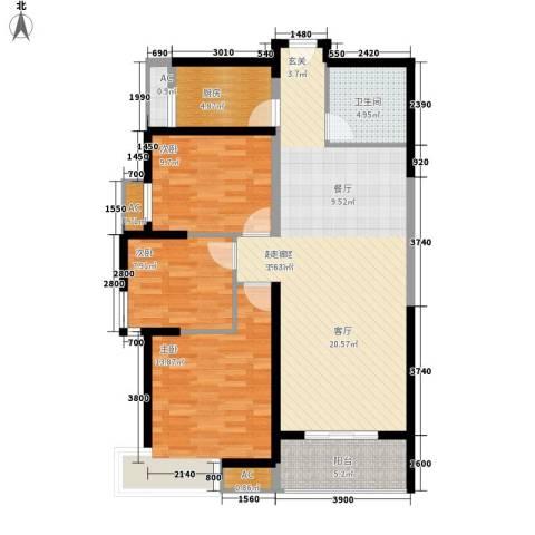 福邸铭门3室0厅1卫1厨112.00㎡户型图