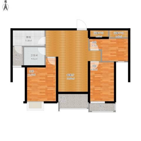恒大名都3室1厅1卫1厨106.00㎡户型图