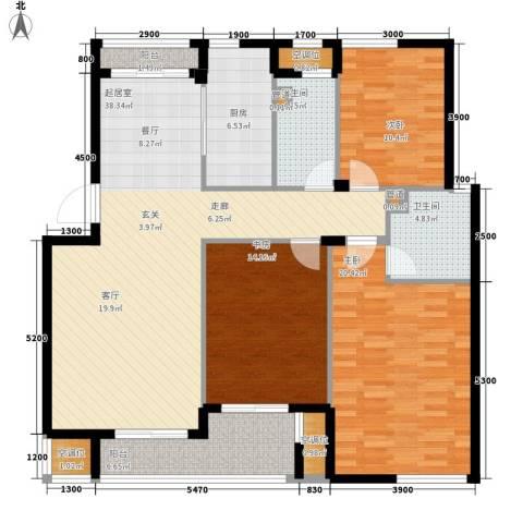 香水湾3室0厅2卫1厨126.00㎡户型图