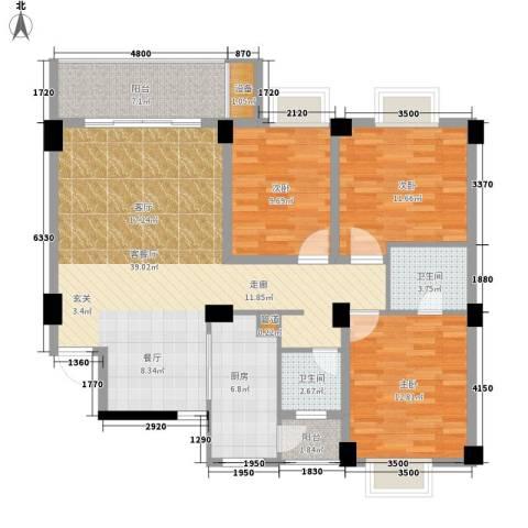 浏阳河畔3室1厅2卫1厨127.00㎡户型图