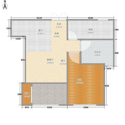 荣域花园1室1厅1卫1厨62.00㎡户型图