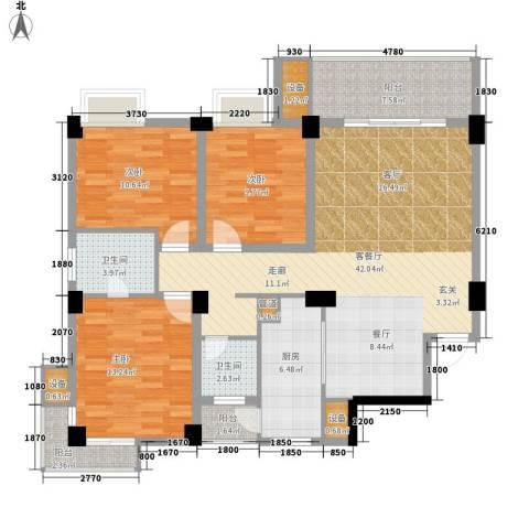 浏阳河畔3室1厅2卫1厨130.00㎡户型图