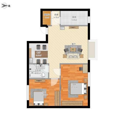 天朗国际广场2室1厅1卫1厨92.00㎡户型图