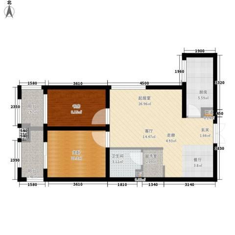 左岸春天2室0厅1卫1厨74.00㎡户型图