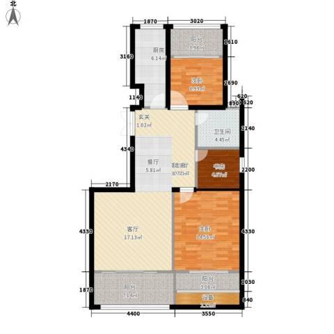 荣域花园3室1厅1卫1厨95.00㎡户型图